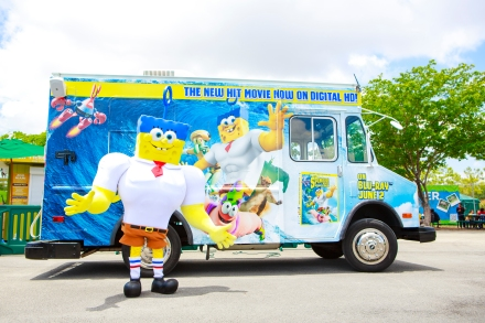 The SpongeBob Treat Truck on Tuesday May 19, 2015 at Zoo Miami in Miami, Florida as the truck kicked off an 8-city tour to celebrate the home entertainment debut of the blockbuster hit film The SpongeBob Movie: Sponge Out Of Water. (Photo by Steve Boxall/invision for Paramount/AP images)